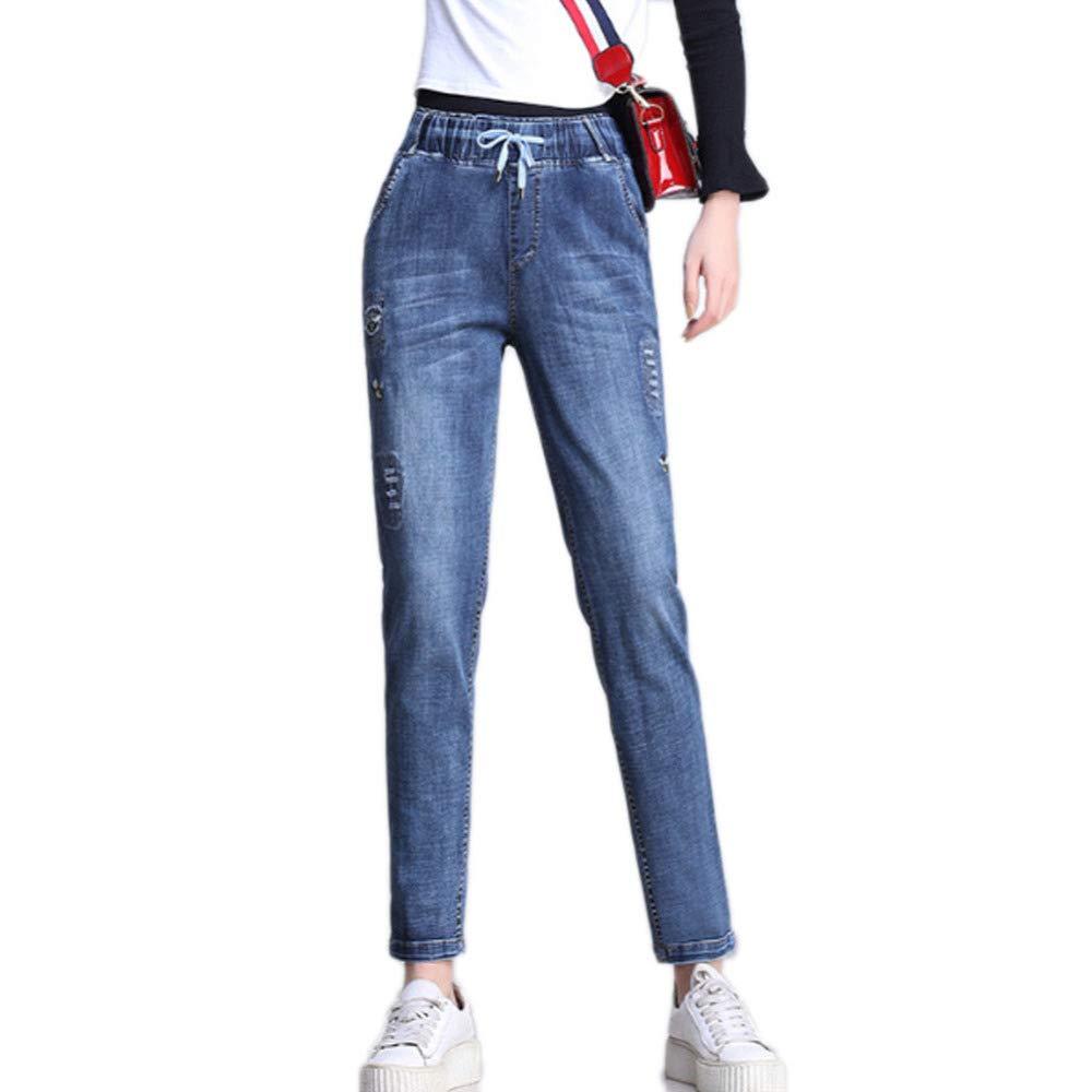 QJKai Women's high Waist Jeans Loose Leisure Nine Pants Fashion Harem Pants Spring Elastic Drawstring Pants