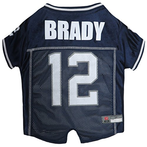 NFLPA Dog Jersey - Tom Brady #12 Pet Jersey - NFL New England Patriots Mesh Jersey, Small