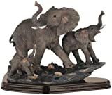 StealStreet SS-G-54070, Family of Wild Elephant Animals Figurine Statue Sculpture