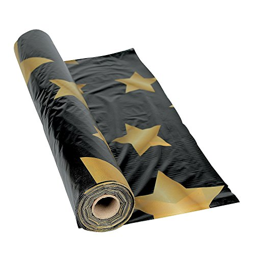 Gold Star Black Tablecloth Roll - Party Tableware & Table Covers Graduation Tableware