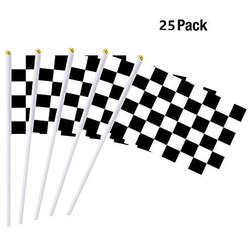 wuudi 25pcs Drapeau à damiers Racing 14× 21cm Fibre de Polyester Drapeau Racing F1Finale Point Noir et Blanc Racing Drapeau