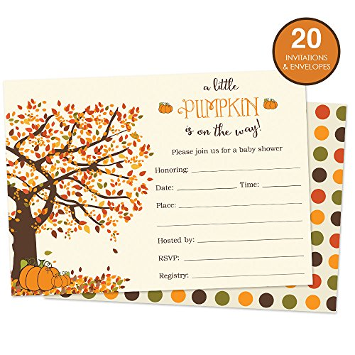 Pumpkin Baby Shower Invitations Fill in Style 20 Count with Envelopes - Fall Baby Shower Invitations - Front and Backside Printed on Heavyweight Cardstock by Party Printery (Image #1)