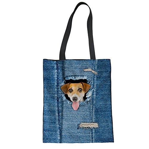 De Showudesigns Mujeres Las Bolsa Bandolera Mano Niñas 1 Mezclilla De Azules Animal Lino Totalizador De De Perro 5rvw6x5