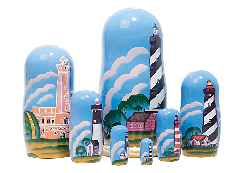 Lighthouses in the Night Russian Nesting Doll 7pc./8'' by Golden Cockerel (Image #1)