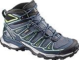 Salomon Women's X Ultra Mid 2 GTX Hiking Shoe, Grey Denim/Deep Blue/Lucite Green, 8 M US