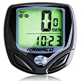 RANIACO Bike Computer, Cycling Computer, Wireless Bicycles Speedometer Bycicles Odometer LCD Screen with Backlight Outdoor Exercise Tool (A-black)
