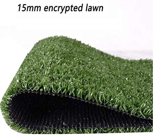 15 mm grüner Kunstrasen, verschlüsselt, wasserdicht und UV-beständig, leicht zu reinigen, gefälschte Rasenmatte für Haustiere, verwendet für die Wanddekoration im Freien (verschiedene Größen) YNFNGXU