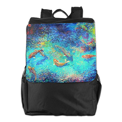 HSVCUY Personalized Outdoors Backpack,Travel/Camping/School-Oil Painting Fishes Adjustable Shoulder Strap Storage Dayback For Women And Men