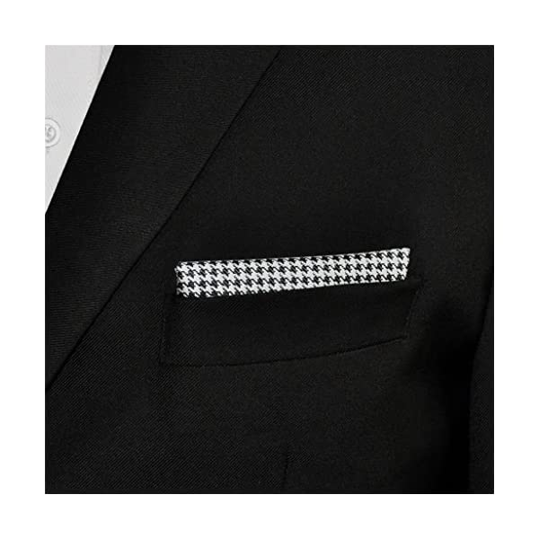 Shlax&Wing Black White Houndstooth Checkes Necktie Mens Tie Extra Long