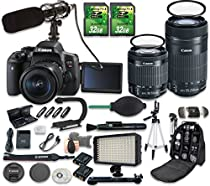 Canon EOS Rebel T6i DSLR Camera Bundle with Canon EF-S 18-55mm f/3.5-5.6 IS STM Lens + Canon EF-S 55-250mm f/4-5.6 IS STM Lens + 2pc 32 GB SD Cards + Microphone + LED Light
