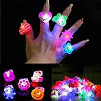 My Party Suppliers Boy's and Girl's Cartoon Blinking LED Light up Jelly Finger Rings -6 Pieces
