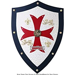 Knight Templar Royal Crusader Shield Red Cross w/ Grid