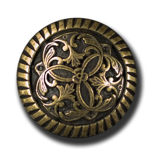 Knopfparadies Sewing Buttons - Set of 5 splendid Metal Buttons, Elegant Design - Colour: Antique Brass, Ø approx. 18mm