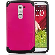 LG G2,iSee Case (TM) LG G2 Case Luxury Tuff Super Armor Hybrid Dual Layer Protective Cover for T-Mobile AT&T Sprint LG G2 (G2-Tuff Armor Pink)