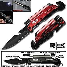 """9"""" Tactical Spring Assisted Red Survival 7 in 1 Rescue Pocket Knife LED Light Fire Starter Blade Sharpener Bottle Opener Glass Breaker Belt Cutter (Red)"""