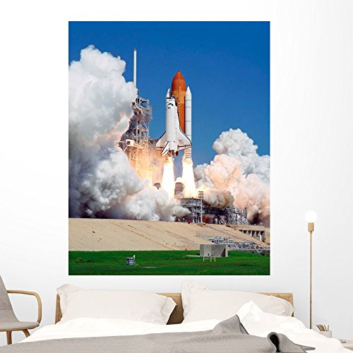 Wallmonkeys Space Shuttle Atlantis Wall Mural by Peel and Stick Outer Space Graphic (60 in H x 48 in W) WM275188