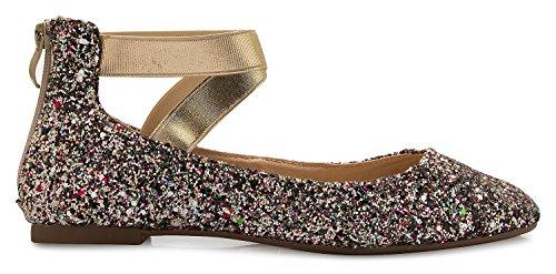 Toe Low Glitter K Strap Cross Closed Comfortable Multi Ballet Ankle On Shoe Flats Olivia Women's Slip Sandal Elastic 1xwxvO