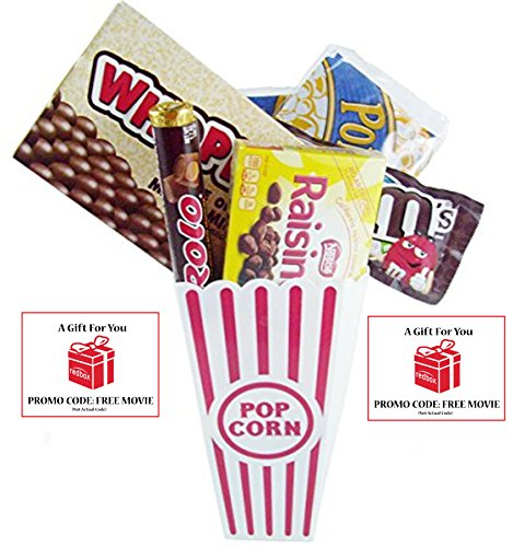 Movie Night Popcorn, Candy And Redbox Movie Gift Basket ~ Includes Movie Theater Butter Popcorn, Concession Stand Candy and a Gift Card for 2 Free Redbox Movie Rentals (Whoppers)