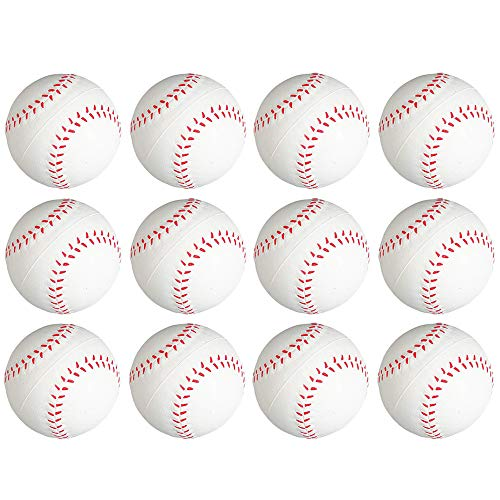 Kicko 2.5 Inch Baseball Stress Ball -- 12 Pieces Squishy Sports Toy - Party Giveaways, Hand Therapy, Anxiety Reliever, Decoration Accessory, Office Desk Supplies, Playtime Activity, Small Game Prizes