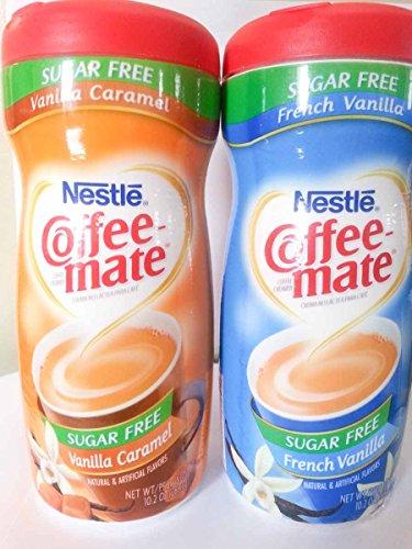 Nestle Sugar Free Coffee Mate Variety Pack, 1 Franch Vanilla & 1 Vanilla Caramel Coffee Creamer 10.2 oz - 2 (Nestle Variety Pack)