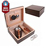 A Comely Cigar Humidor for 25-50 Cigars, Ebony, Spanish Cedar Wood Lined/Divider, Hygrometer and Humidifier, Ebony w Stainless Steel Astray/Cigar Cutter, luxury cigar box set