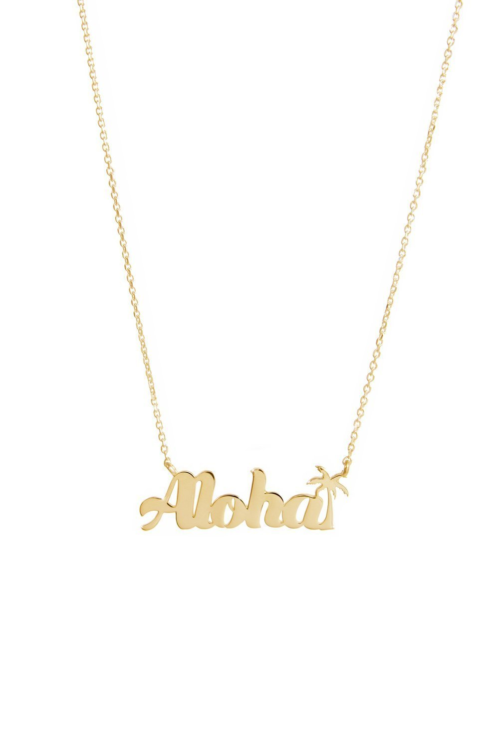 8d594818fa05d2 Amazon.com: Aloha Necklace, Gold Word Pendant, 9K, 14K, 18K Gold Necklace,  Rose Gold Aloha, Inspirational Gift For Her /code: 0.003: Handmade