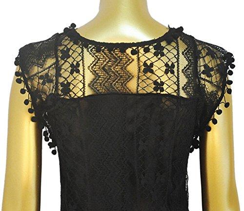 Redondo de Señoras Hueca DATO las Cuello Blusas Vestido del negro Encaje del Stückeln Mangas Vestidos Vestido Mujeres de sin Mini qxaxfR8