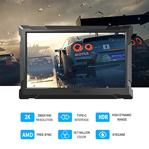 G-STORY 13.3 Inch WQHD 2K 1440P Eye-Care Portable Gaming Monitor with FreeSync, Type-C,HDMI Cable,Built-in Speaker, Vesa Option, Remoter, UL Certificated AC Adapter