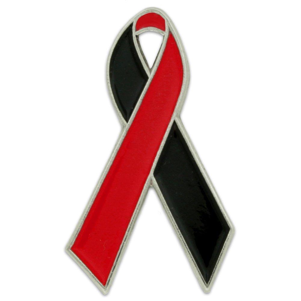 PinMart's Red and Black Awareness Ribbon Enamel Lapel Pin