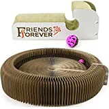 Cat Scratcher Cardboard Lounger with Ball Toy Bell Tunnel Foldable Portable Furniture