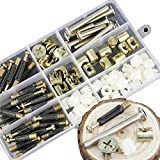 88PCS 3 in 1 Bolt nut Connection-Crib Screws,Wardrobe Splicing, Furniture and Chairs-Zinc Plated Hex Drive Socket Cap Furniture Barrel Screws Bolt Nuts Assortment Kit and Eccentric Wheel