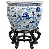 Oriental Furniture 16'' Landscape Blue & White Porcelain Fishbowl
