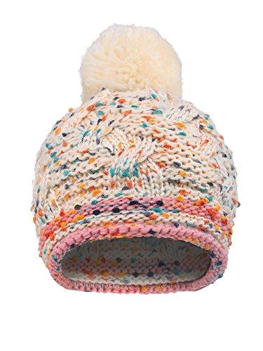 Arctic Paw Girls Chunky Knit Beanie with Yarn Pompom, Cream Speckled