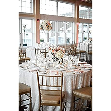 TRLYC 196 Round Romantic White Sparkly Wedding And Party Sequin Table Cloth Glitter Tablecloth