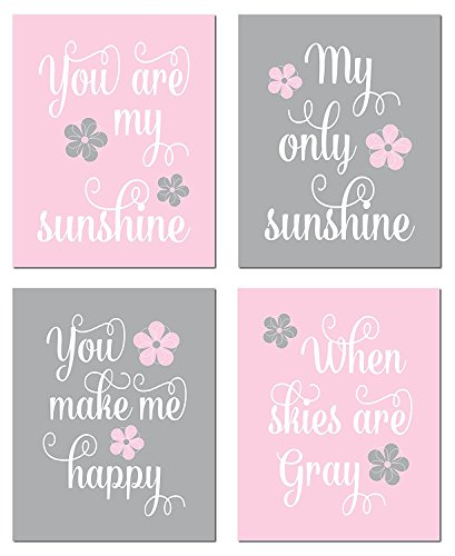 Gango Home D cor Adorable Pink and Grey You are My Sunshine.You Make Me Happy When Skies are Grey Paper Panel Child s Room or Nursery Decor Four 8 by 10-Inch Mounted Fine Art Prints Ready to Hang