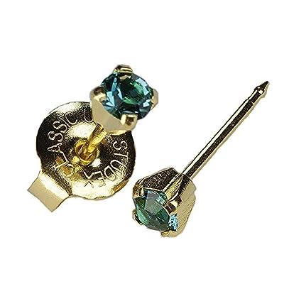 "Gold Mini 3mm December Blue Green Birthstone Ear Piercing Earrings ""Studex System 75"" Hypoallergenic by Studex: Beauty"