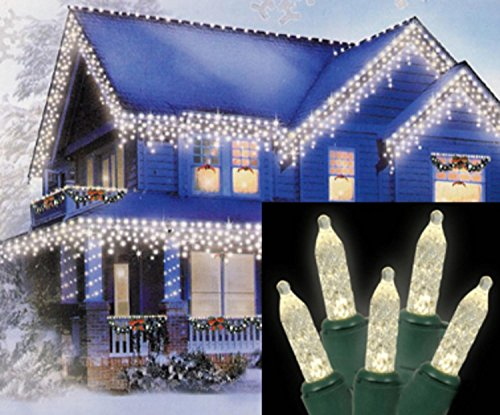 Led Icicle Lights Green Wire Warm White - 1