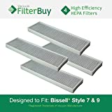 4 - Generic Bissell Style 7 & 9 HEPA Filters, Part #32076. Designed by FilterBuy to fit All Bissell Style 7 & 9 Upright Vacuum Cleaners