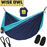 Wise Owl Outfitters Hammock Camping Double & Single Tree Hammocks - USA Based Brand Gear Indoor Outdoor Backpacking Survival & Travel, Portable Lightweight Parachute SO NvyBlu