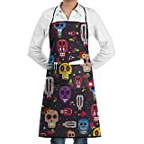 Novelty Mexican Skull Kitchen Chef Apron With Big Pockets - Chef Apron For Cooking,Baking,Crafting,Gardening And BBQ