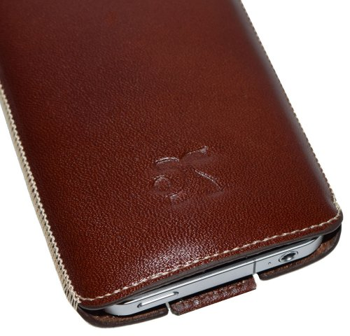 Original Suncase Schutzhuelle Leder Case - fuer Apple iPhone 4 - Handytasche Etui Tasche iPhone-4 (fuer Neueste iPhone 4. Generation) - in der Farbe Braun