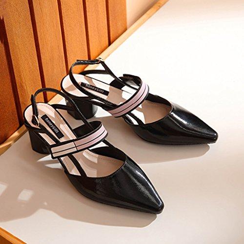 Chaussures à Talons Hauts pour Femmes avec des Sandales Grossières Chaussures Pointues Noir hxh8khmsl