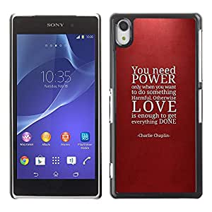 Impact Case Cover with Art Pattern Designs FOR Sony Xperia Z2 Power Love Quote Maroon Red Text Betty shop