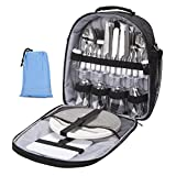 NiceEbag Picnic Bag for 4 with Complete Tableware/Cutlery Set and Blanket,4 Person Picnic Tote Bag with Detachable Shoulder Strap for Family/Friends Outdoor Picnic Party Camping Fishing Hiking,Black