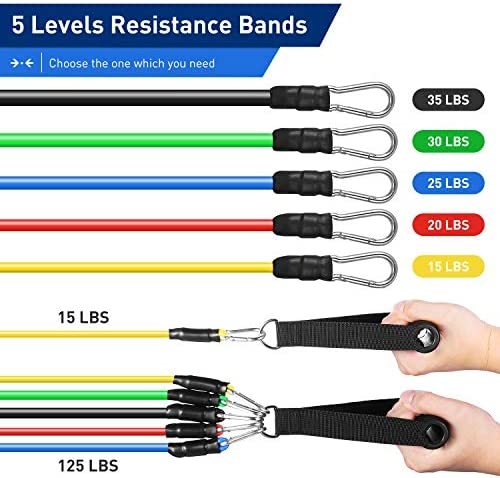 KUYOU Resistance Bands Set 2020 New 11 Pcs Exercise Workout Bands with Handles for Women Men, 5 Resistance Loop Bands Set with Door Anchor, Carry Bag for Fitness Training Workout Yoga Pilate Stretch 2