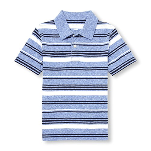 The Children's Place Big Boys' Short Sleeve Stripe Polo, Island Hopping 01778, XL (14)