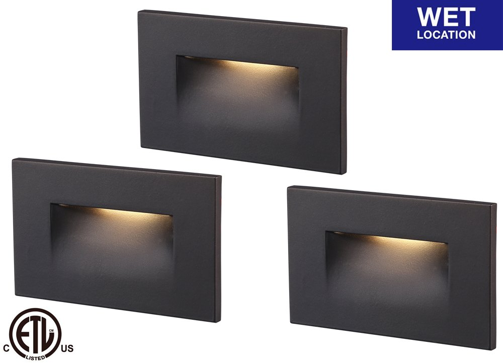 Cloudy Bay LED Step Light,3-Pack,3000K Warm White 3W 100lm,Indoor/Outdoor Stair Light,Oil Rubbed Bronze