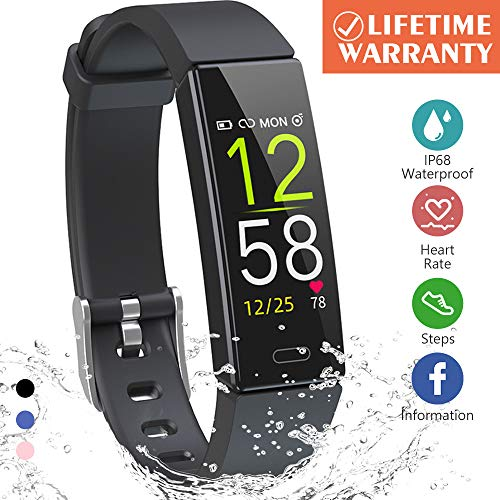 K-berho Fitness Tracker HR,Activity Tracker Watch with Heart Rate Monitor, Sleep Monitor, Smart Fitness Band with Step Counter, Calorie Counter Watch Waterproof, Pedometer Watch for Kid Women and Men (Sleep And Step Tracker)