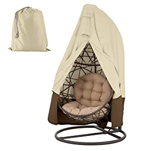 "LITTLEGRASS Hanging Chair Cover 420D Patio Egg Swing Chair Covers Waterproof Heavy Duty Oxford Outdoor Furniture Protector 75""HX45""D, Beige"