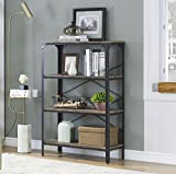 wood and metal bookcase - O&K Furniture 4-Shelf Industrial Open Bookcase, Wood and Metal Vintage Etagere Bookshelf for Living Room, Gray-Brown
